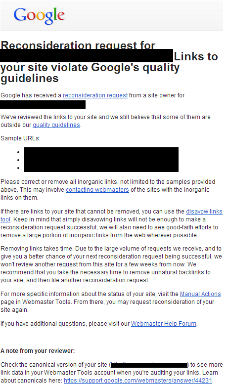 nota de peticion de reconsideracion rechazada de google Las peticiones de reconsideración rechazadas van a incluir más información de tu revisor